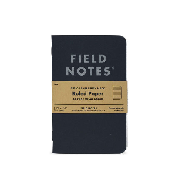 Field Notes Pitch Black Memo Book 3-Pack (Ruled) - Thirdmark Supply House