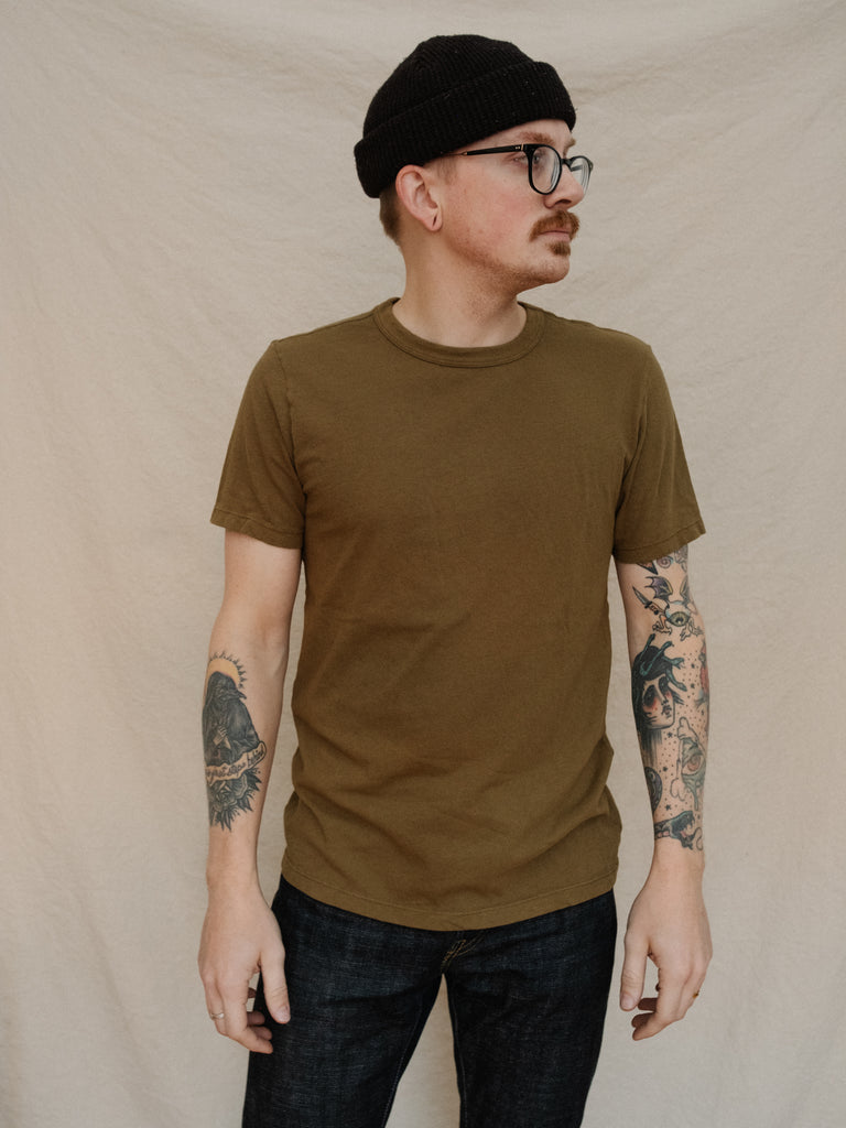 Olive Knit Midweight Crew - Thirdmark Supply House