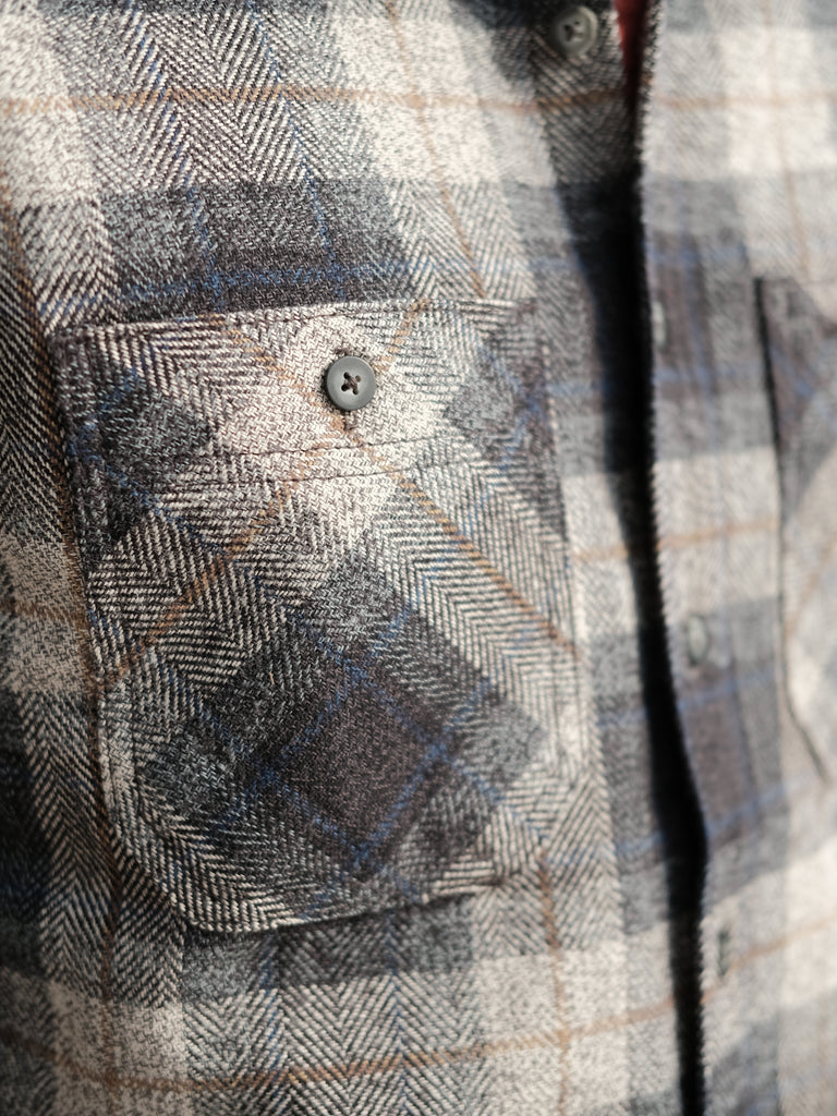Rogue Territory BM Shirt - Grey Herringbone Plaid - Thirdmark Supply House