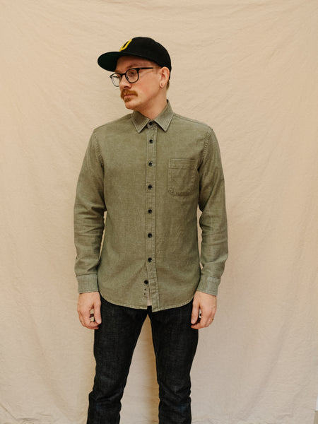 Taylor Stitch - The Mechanic Shirt - Olive Reverse Sateen - Thirdmark Supply House