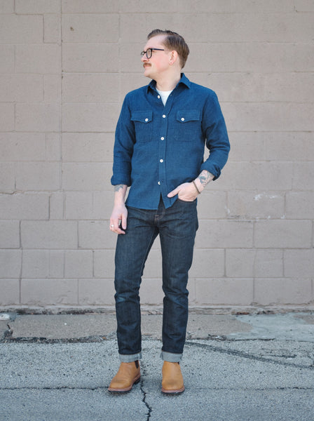 3Sixteen Hand Loomed Indigo Crosscut Shirt - Thirdmark Supply House