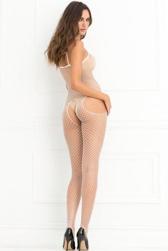 Industrial Net Suspender Bodystocking White O-s (net)