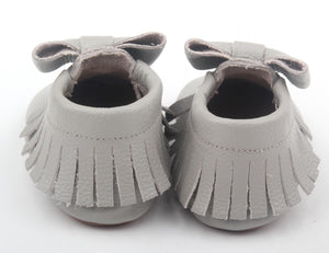 Big Bow Moccasins- Light Gray