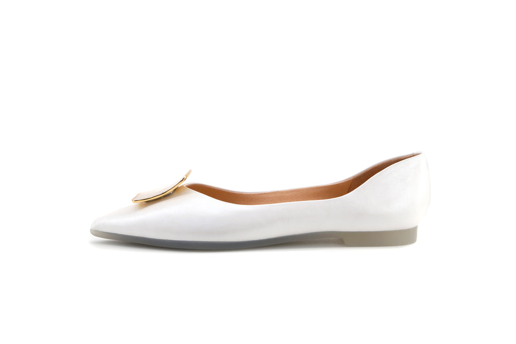 Modern Sailor Flat Shoes - White 1M12401 WTK