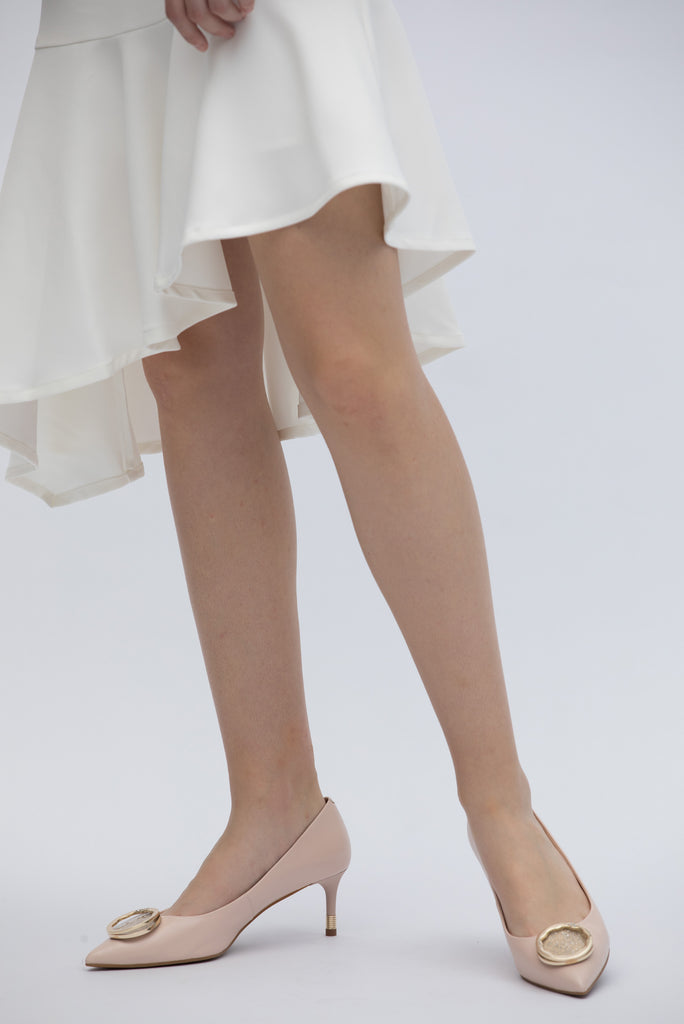 Ballet Pumps with Music Box Detail - Beige