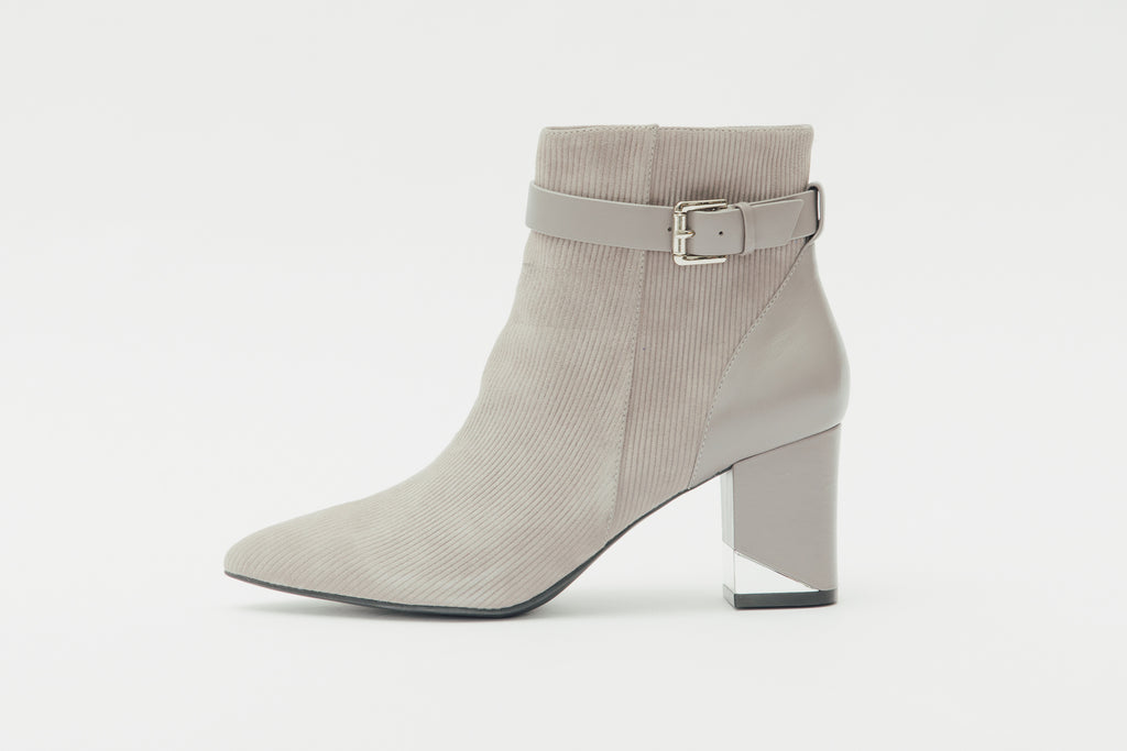Buckled Leather Ankle Boots - Grey