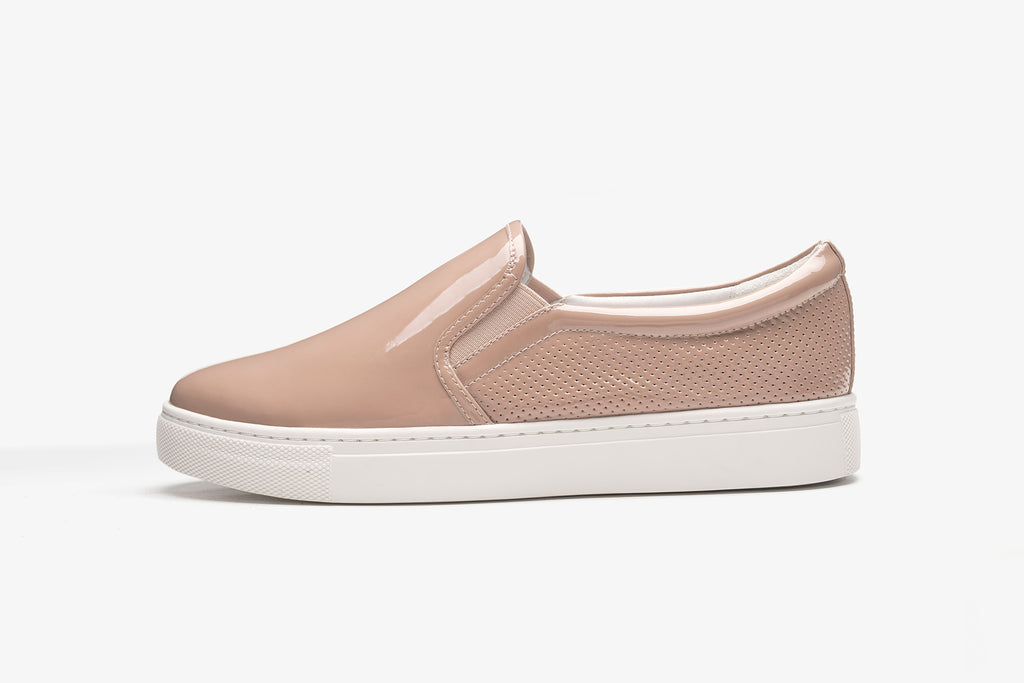Patent Leather Slip-on Sneakers - Dark Pink AT22554