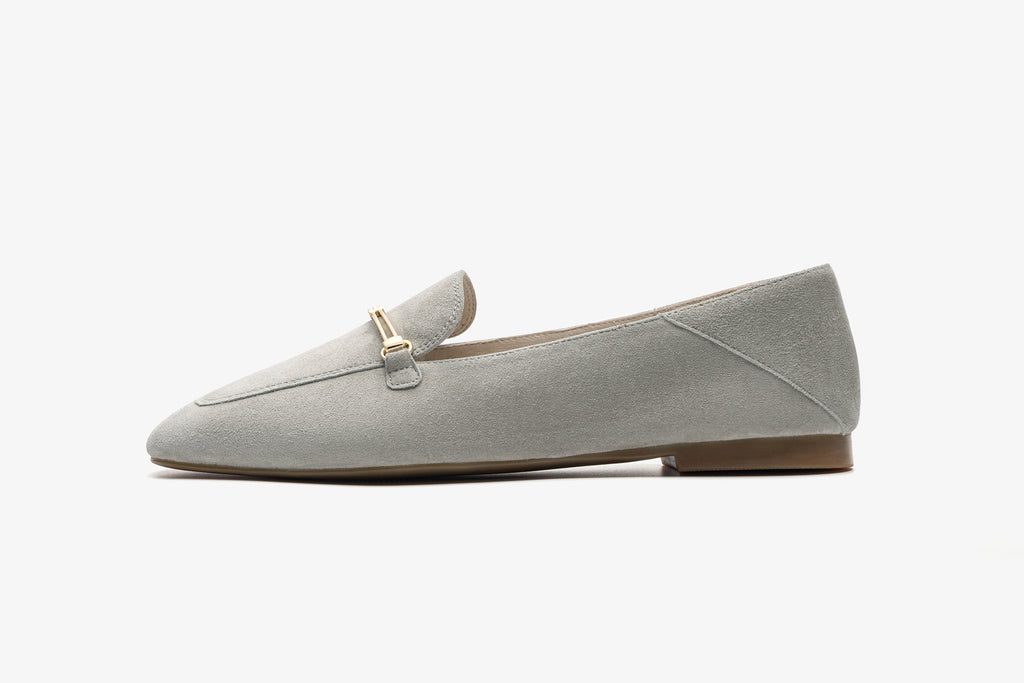 Suede Leather Loafers with Buckle - Grey AT18801