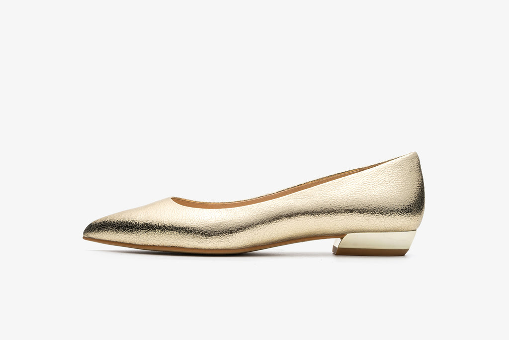 Leather Ballet Flats - Gold