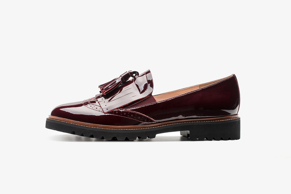 Casual Leather Platform Loafers - Burgundy AT23610