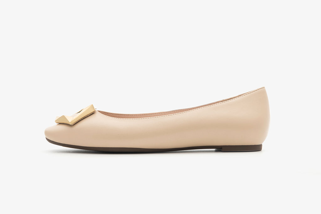 Great City Square Toe Flat Shoes - Beige AT06904 BEK
