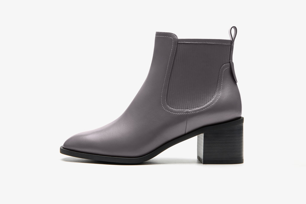 Leather Cowboy Block-heel Ankle Boots - Grey AT58802