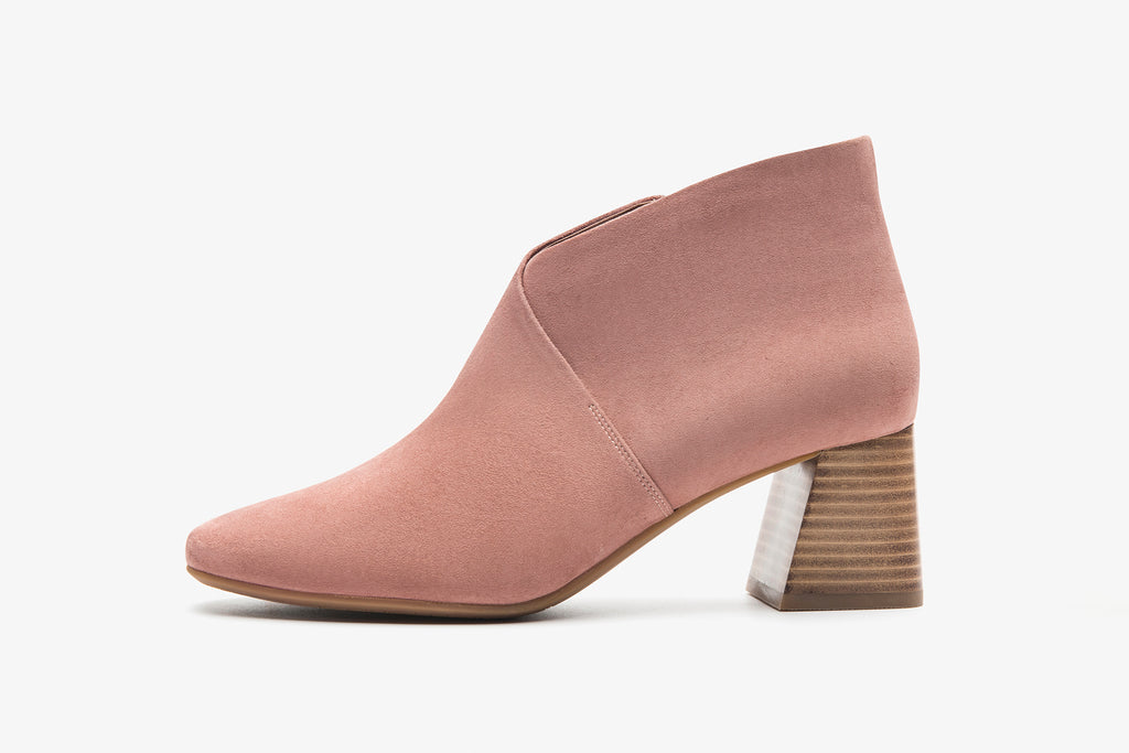 High-Heel Leather Ankle Boots - Dark Pink AT68810