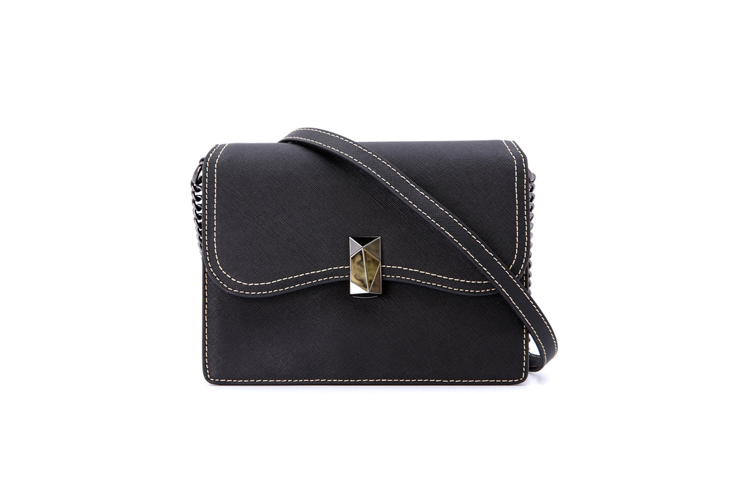 Printed Leather Crossbody Bag with Chain Detail - Black ATH7629