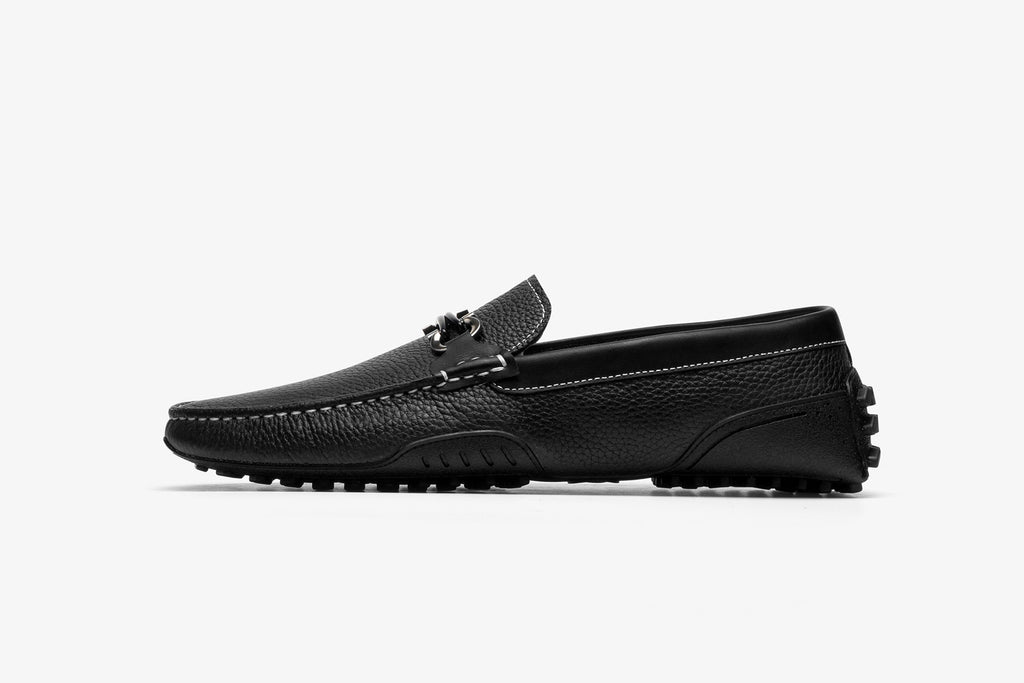 Men's Leather Driving Shoes - Black