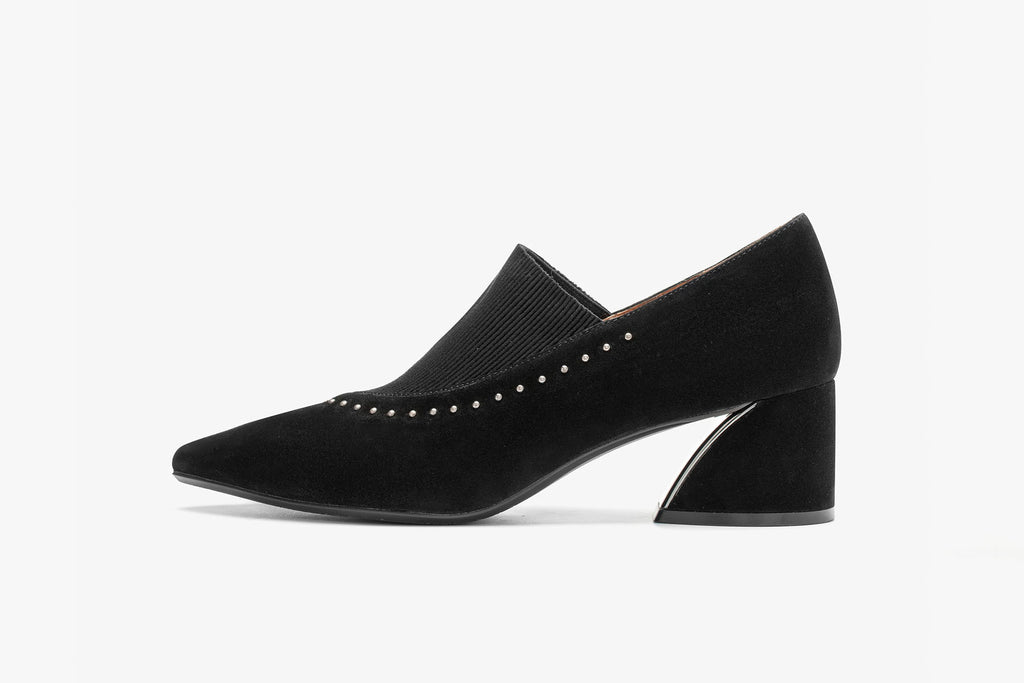 Block-Heel Shoes with Jewel Detail - Black AT64601