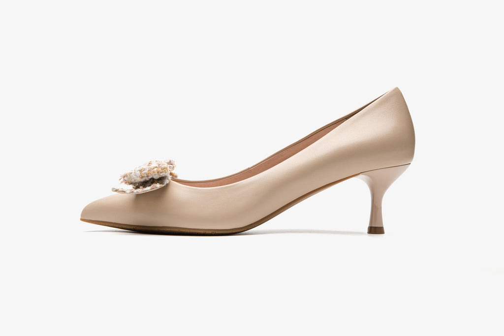 Leather Pumps with Fabric Bow detail - Dark Beige AT53205