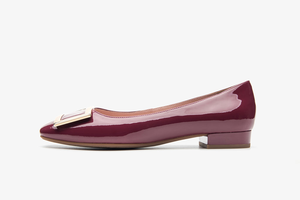 Square-Toe Buckle Patent Flat Shoes - Dark Purple AT15602