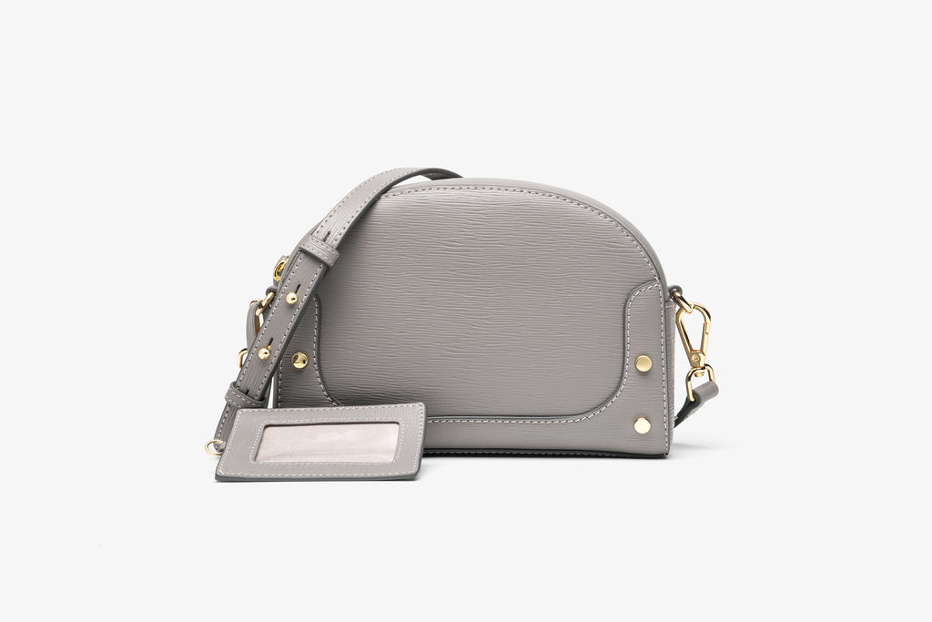 Printed Leather Crossbody Bag - Grey ATH7635