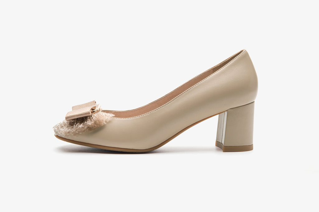 Block-Heel Shoes with Bow Detail - Dark Beige AT60203