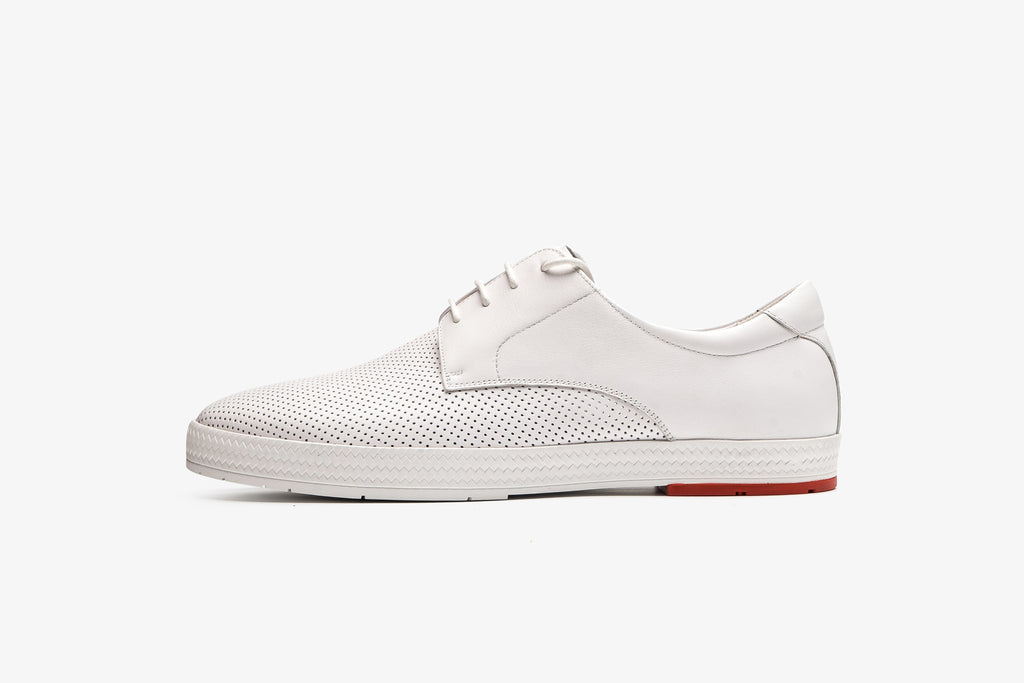 Men's Leather Sport Shoes - White