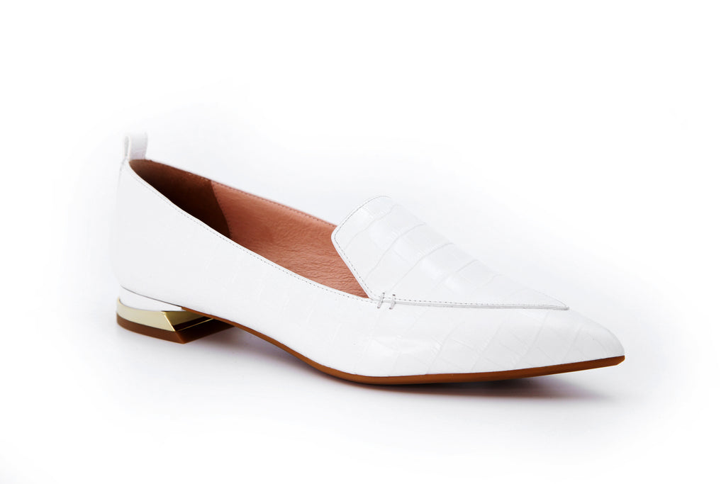 Mock Croc Leather Loafers - White AT13026