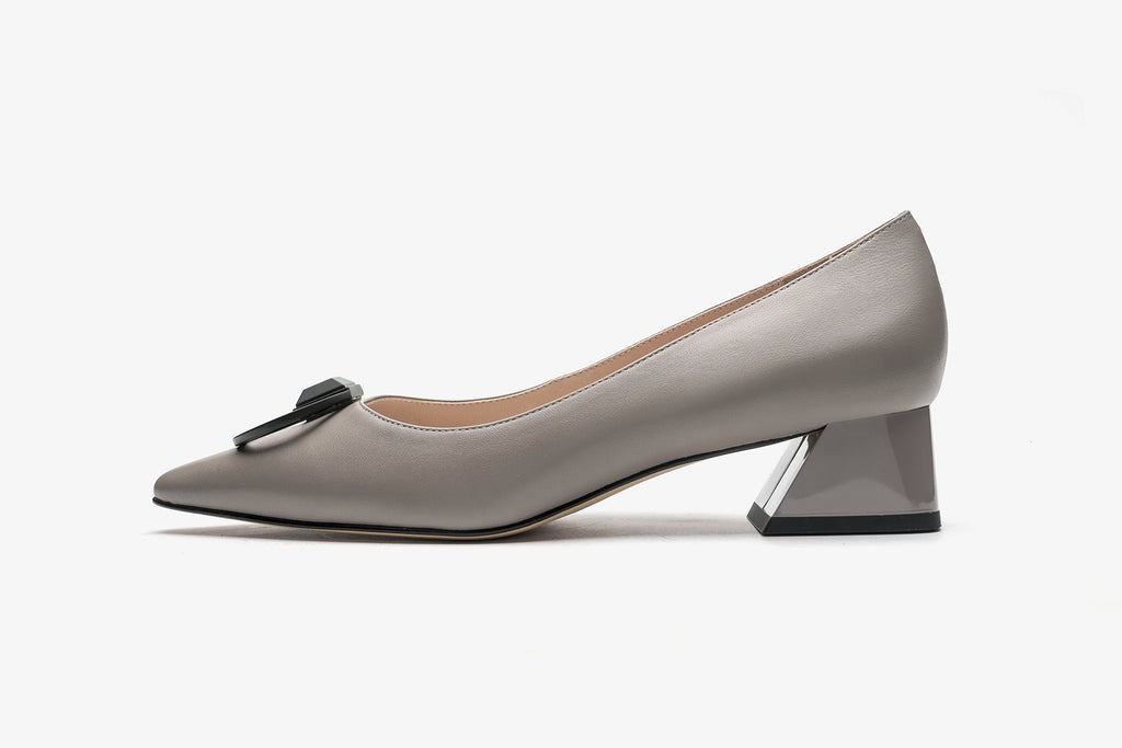 Arc Pointed-Toe Block Heels - Grey AT40202GYK