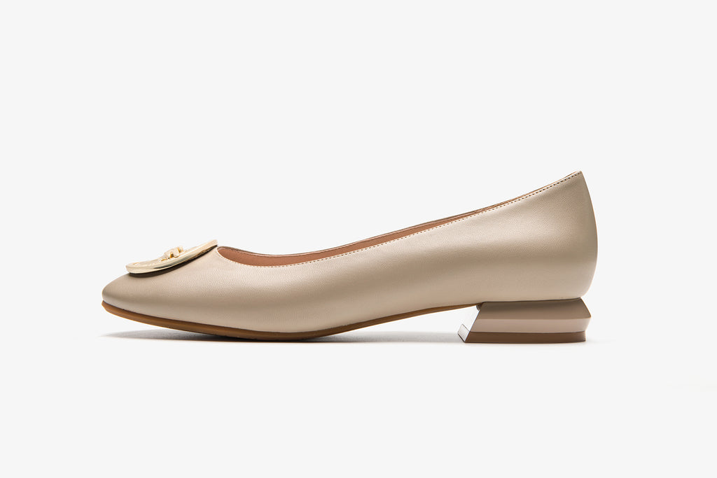 Square-Toe Leather Flats with Metal Detail - Dark Beige AT22902