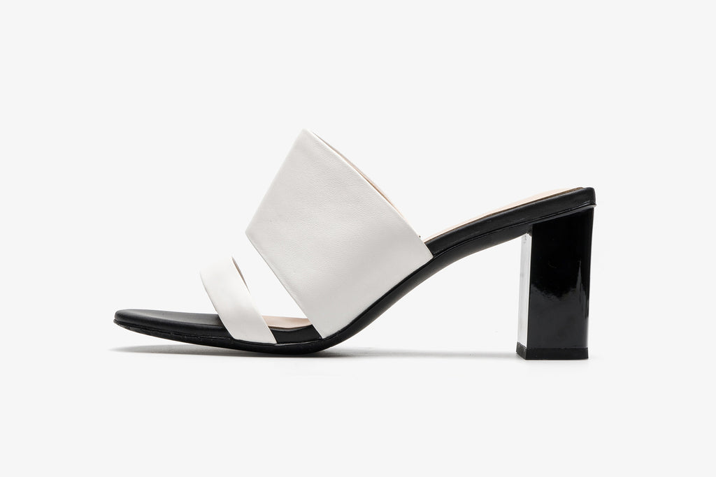 Block Heel Leather Mules - White