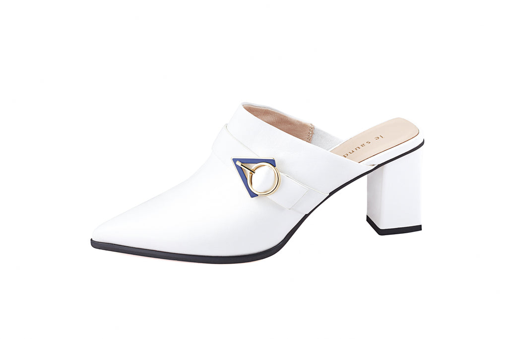 Leather mules with Geometric Detail - White