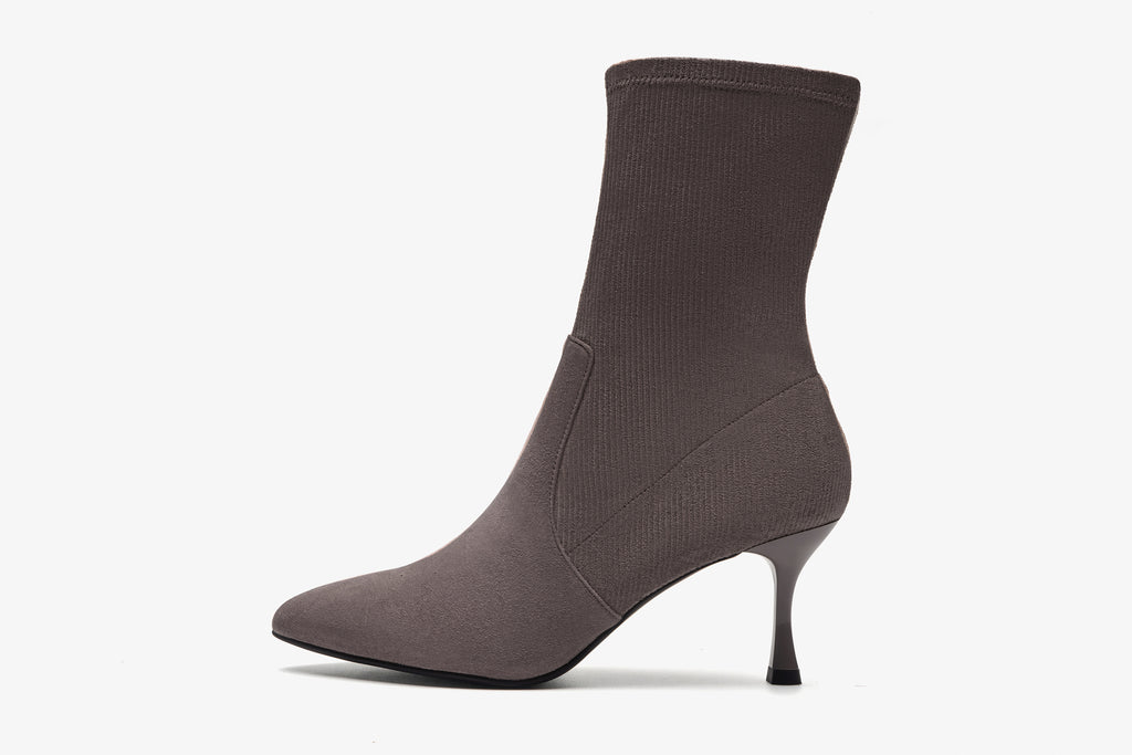 Suede High-Heel Boots - Grey AT71601