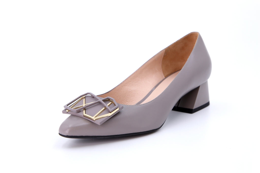 Millennium Wheel Leather Low Block Heels - Grey AT37708