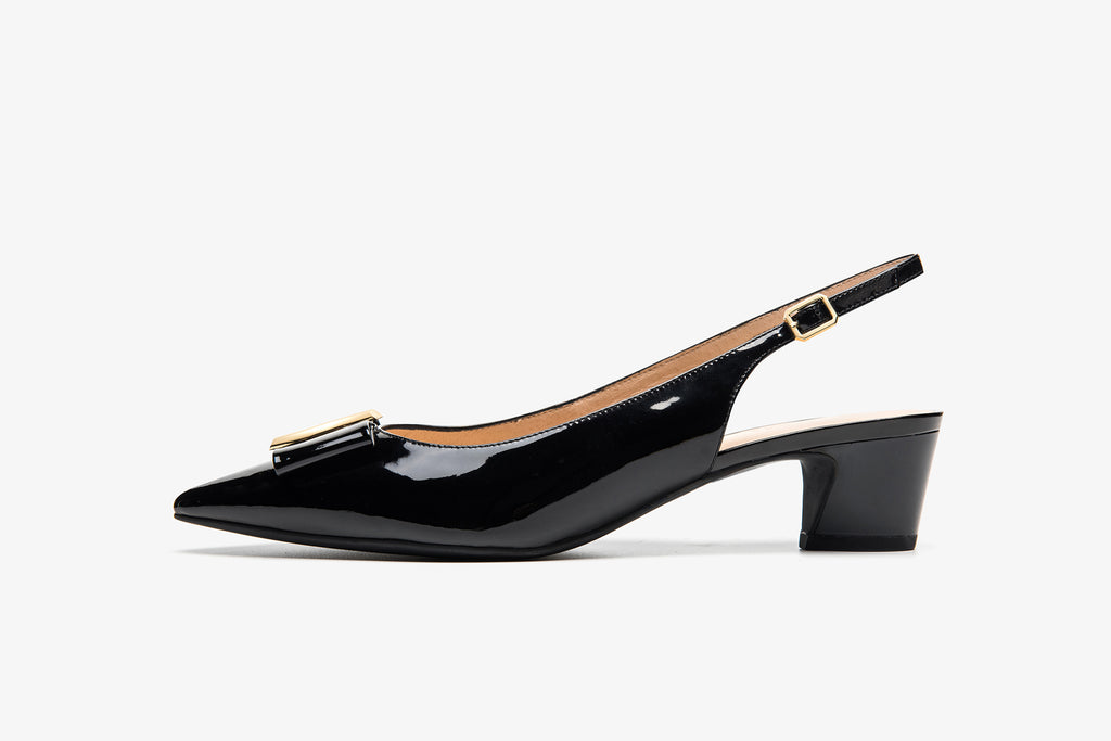 Patent Leather Slingback Heels with Detail - Black