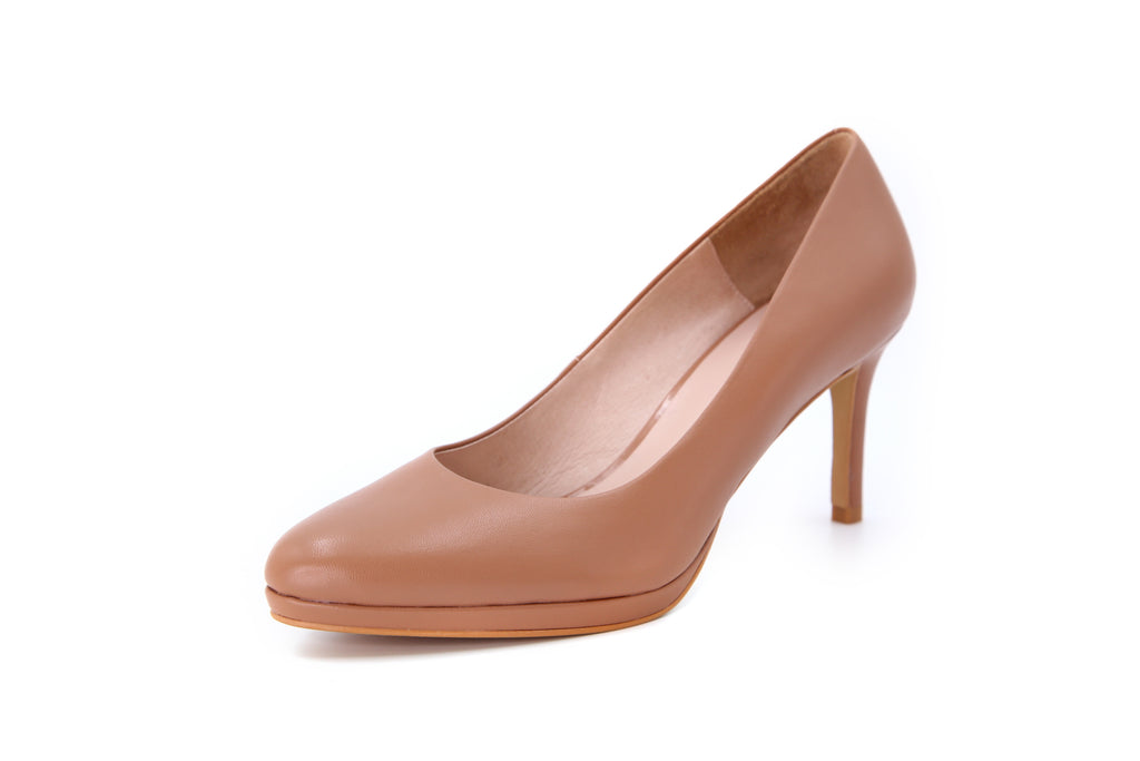 Leather Platform Pumps - Beige AT76701
