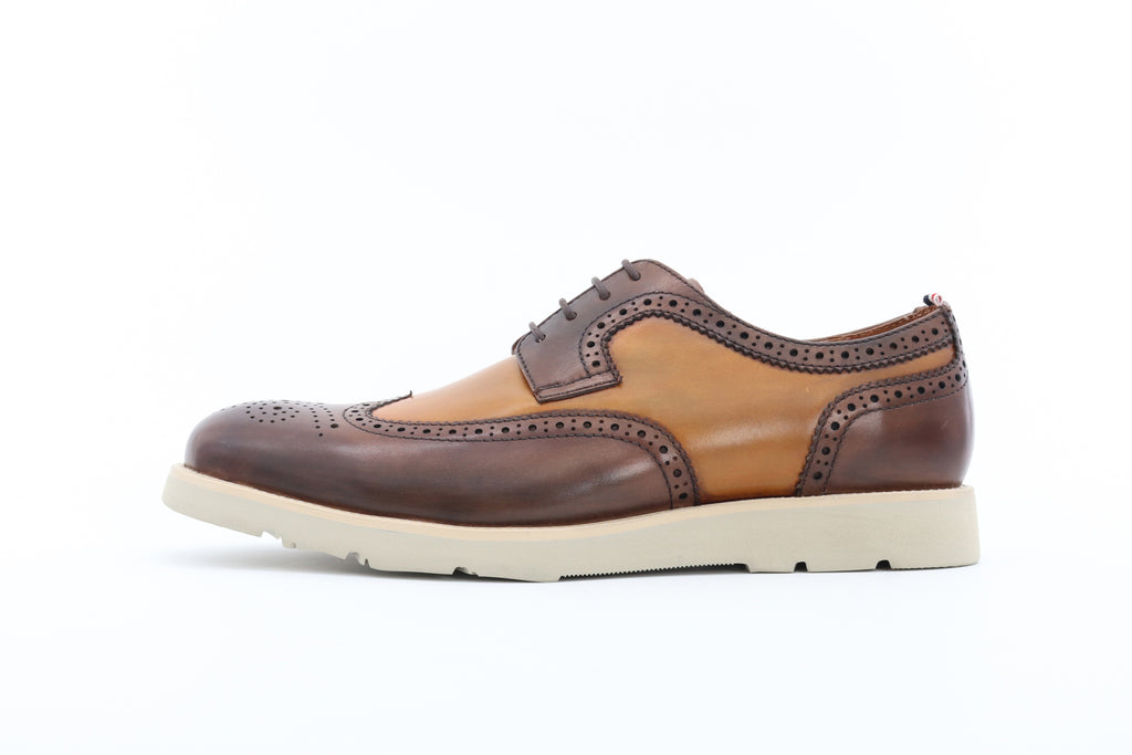 Men's Two-Tone Leather Shoes - Brown