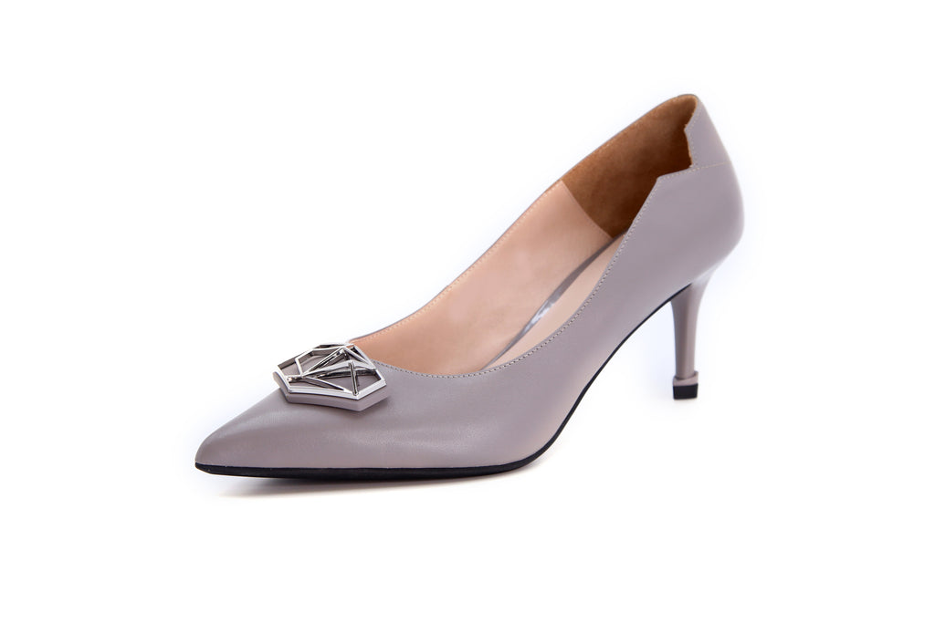 Millennium Wheel Leather Pumps - Grey AT87515