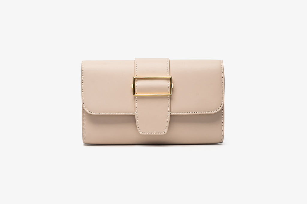 Leather Crossbody Bag - Dark Beige
