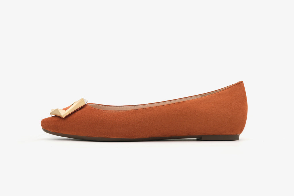 Great City Square Toe Flat Shoes - Orange AT06904