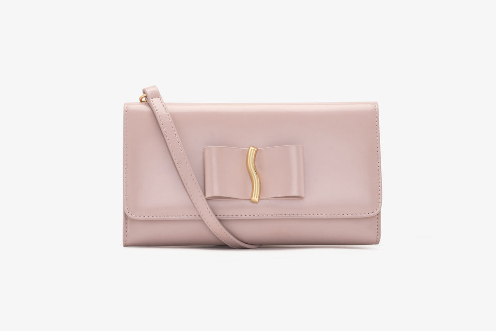 Mini Crossbody Bag in Leather - Pink