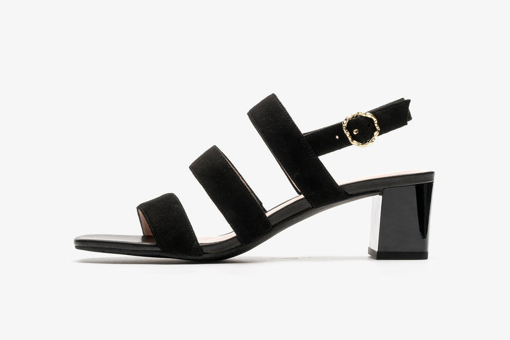 Suede Platform High Heel Sandals - Black