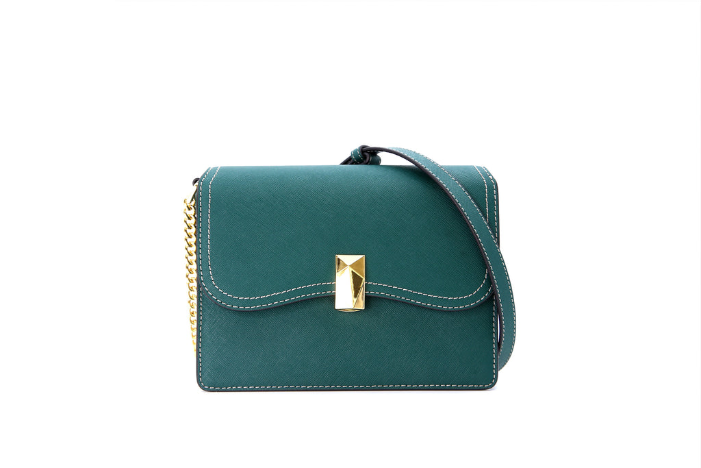 Leather Crossbody Bag with Chain Detail - Green ATH7629