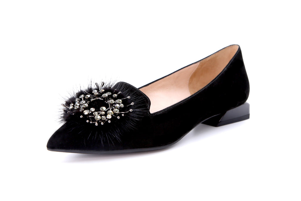 Loafers with Faux Fur Pom Poms Detail - Black AT13025