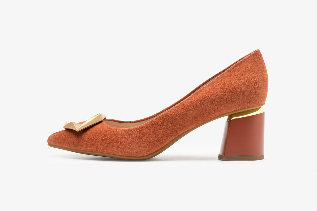 Great City Leather Block Heels - Orange AT56344