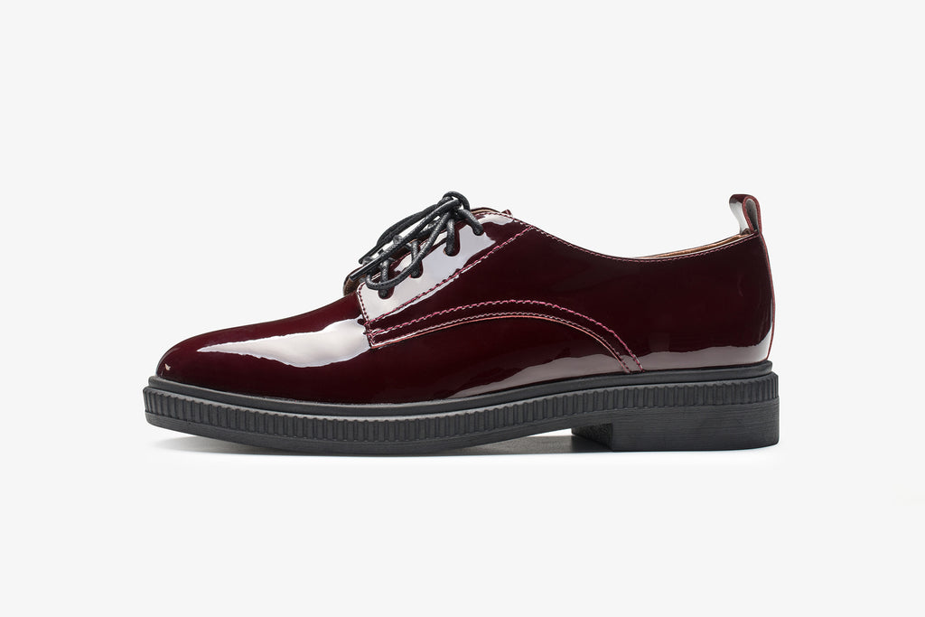 Casual Leather Lace-up Shoes - Burgundy AT34403