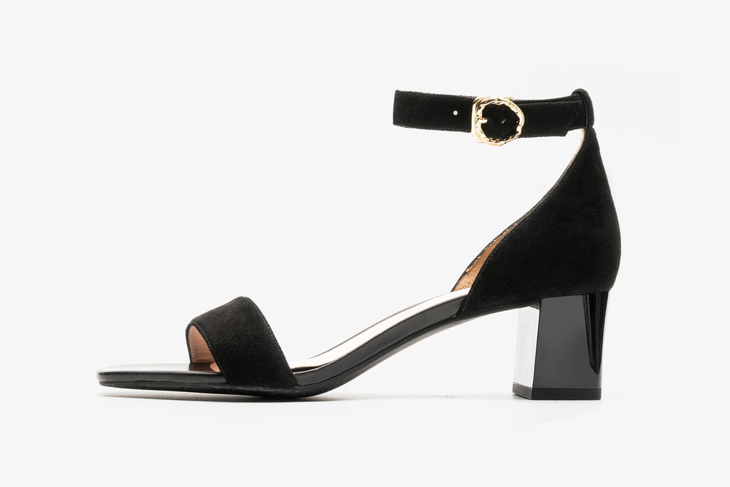 Suede Block Heel Sandals - Black