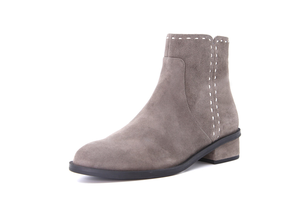Suede Leather Ankle Boots with Topstitching Detail - Grey AT46801