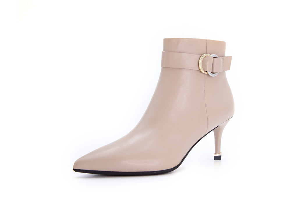 Arc Buckle Leather High-Heel Ankle Boots - Tapue AT87517