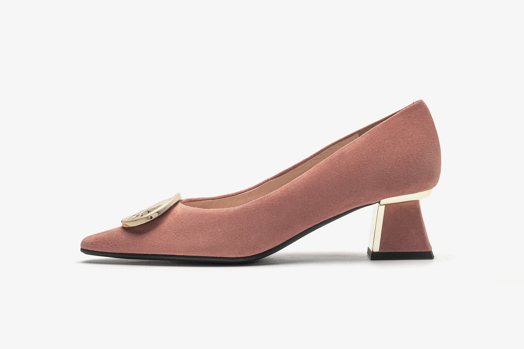 Block Heels with Metal Detail in Suede Leather - Peach AT46501