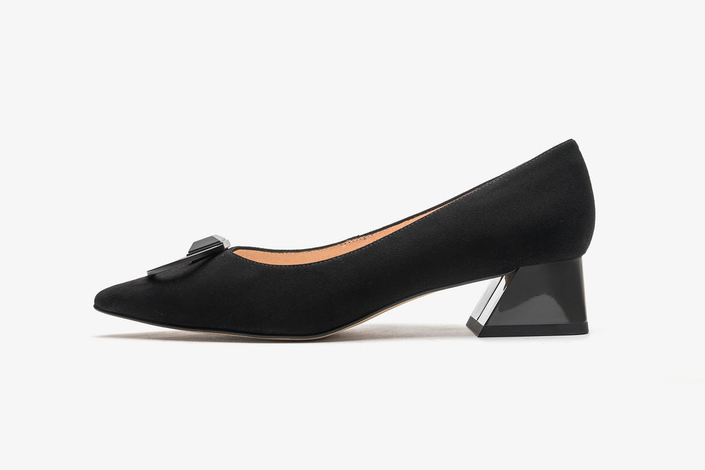 Arc Pointed-Toe Block Heels - Black AT40202