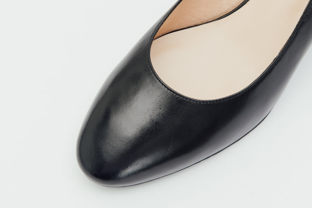 Leather Round-Toe Pumps-Black 9T52201 - BKK